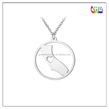 Silver California State Circle necklace Country jewelry
