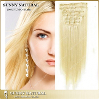 100g Light Blond 613 Malaysian Human Hair Extensions Clip in Human Hair