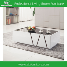Good Selling Glass Top Wooden Tea Table Design with Drawer