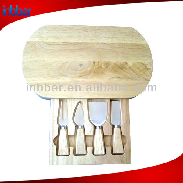Promotion oval wooden cheese holder set
