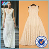 Yihao 2015 New Fashion Runway Ladies Elegant High Quality Leaves Hollow Out Lace A-line Midi Dress