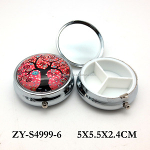 Hot sale FDA life tree design mini round shape glass metal wholesale pill box for gift