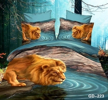 Lion drinking at the Water Hole Oil Painting 3d Bed Set