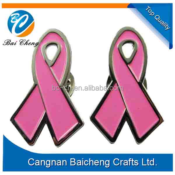 High quality custom pink breast cancer awareness ribbon lapel pin