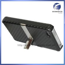 Carbon Fiber Leather Case for iPhone 4 with stand