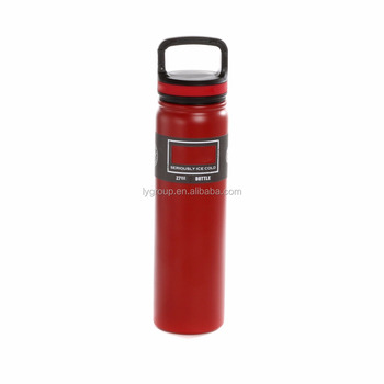 Newest 27OZ double walled vacuum water bottle with built in carabiner lid,wide mouth SS18/8 insulated sport thermo flask bottle