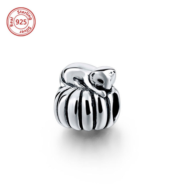 sterling silver Easter Sunday pumpkin charm bead for bracelet jewelry accessories
