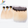 Sevengirls wholesale brazilian straight virgin human hair Ombre Two Tone Color 1B 613 bundles with frontal
