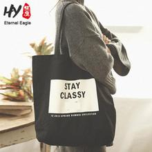 Cotton canvas tote bag with leather handle factory price