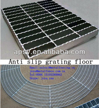 Hot dip galvanized anti slip serrated steel grating floor