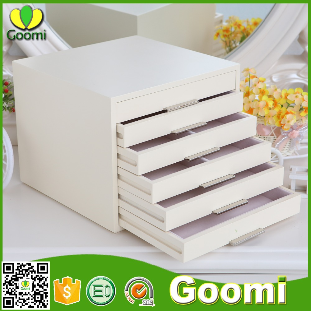 High Quanlity JS12# GanZhou Goomi E0 MDF Storage Use White Creative wooden jewelry fireproof storage boxes