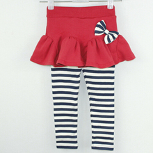 tc8482 kids wear china striped sweet girls capris pants with bow