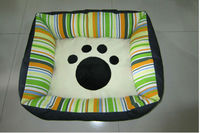 NEW Factory Price Cute Leather and Plush Dog bed with Paw Printing