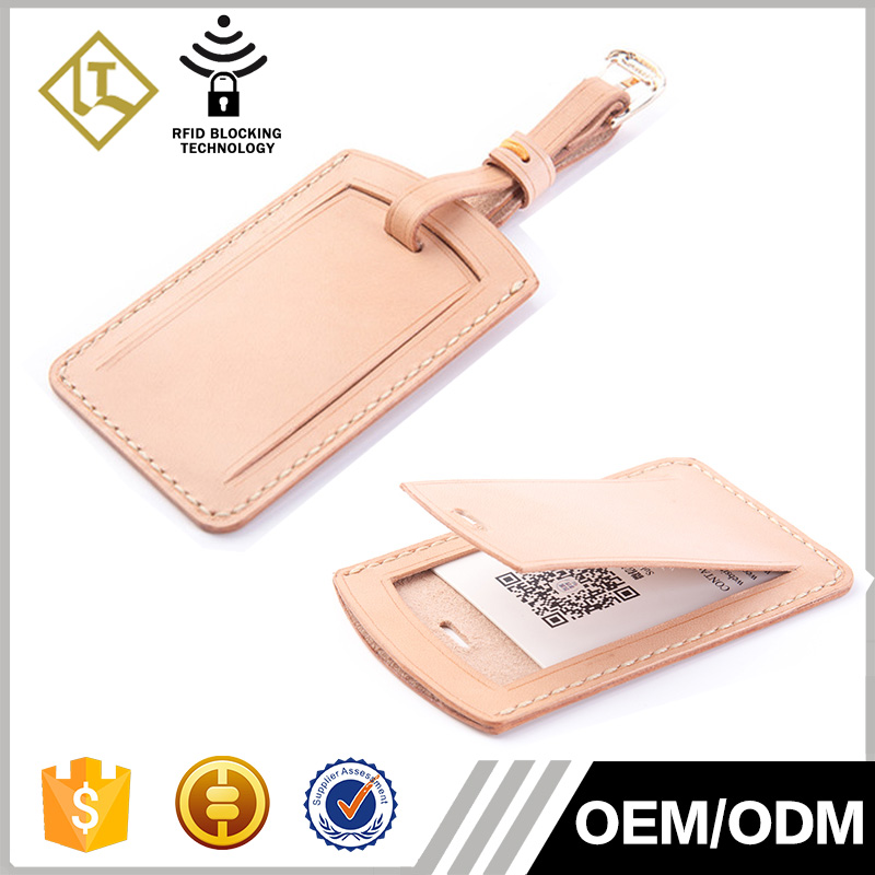 2016 hot sale new personalized engraved logo genuine tanned leather custom leather luggage tag