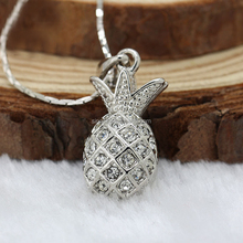 Fashion Trend Textured Diamond Micro Pave Dainty Hollow Pineapple Pendant Fruit Necklace Delicate Jewelry