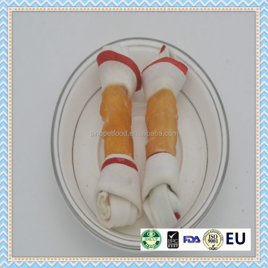 Rawhide Bone Series chicken wrap two color bone dog chew bone