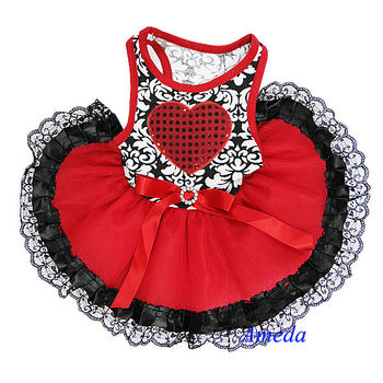 NEW Black Damask Bling Red Heart Black Lace Tutu Pets Dogs Clothes Party Dress XS-L