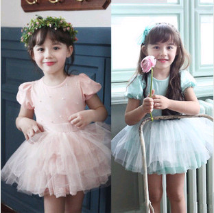 D83943H 2014 BABY GIRL'S SUMMER LATEST DESIGN SPOT HIGH QUALITY SWEET COLOR MULTI-LAYERS GAUZE DRESS