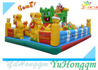 Popular Inflatable Fun City ,Amusement Park Cartoon Jumping Bouncer For Kids Inflatable Slide