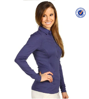Ladies long sleeve polyester dry fit tight polo shirt cool Dry 100%polyester polo shirt