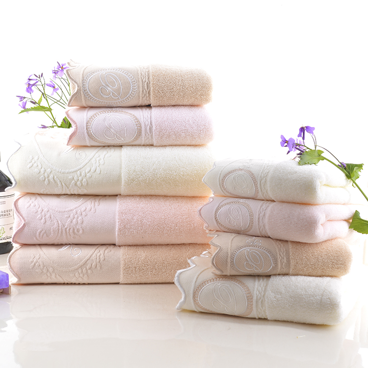 Wholesale Anti-Bacterial Embroidered 100 Organic Cotton Bath Towel Set