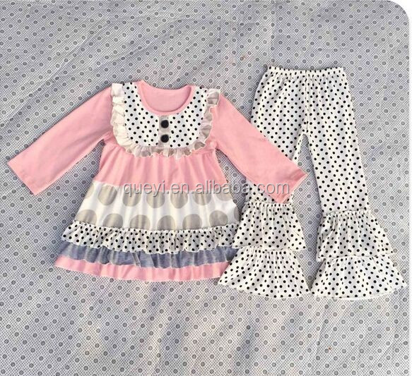 Fall polka dots girls dress boutique wholesale Valentine baby children clothing and polka dot pants outfit sets