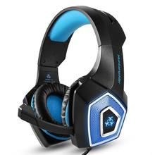 Gaming Headset for PS4, HUNTSPIDER Brand with Mic for PC PSP Surround Stereo Sound Over Ear Headphone for whole sale gamer blue