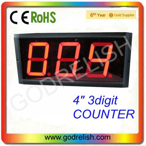 "High 4"" Brightness 3digital red 7 segment led counter queue led display"