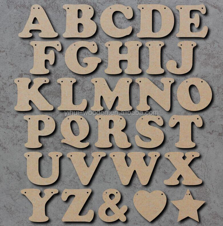 2016 new style laser cut wholesale art minds wood alphabet letters