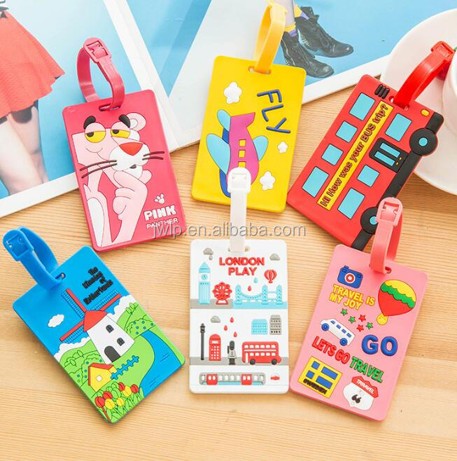 Fashion silicon baggage tag tag cute cartoon plastic travel luggage tag