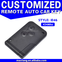 Alibaba China Market 434Mhz 3 Button ID46 Remote Card For Renault Megane MTF-101300