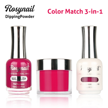 Free sample 3 in 1 set dipping powder match uv gel and nail polish lacquer