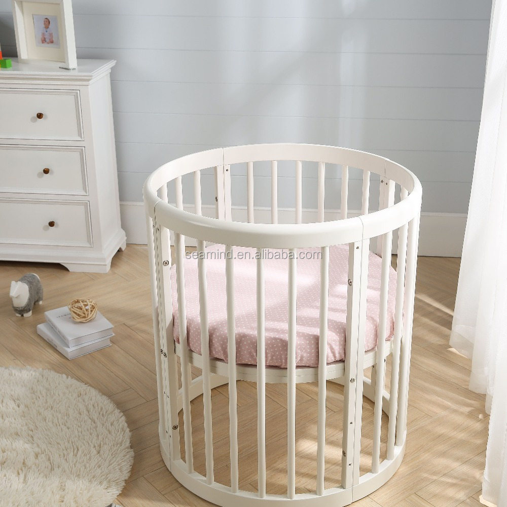 Multi-function Round Pine Solid Wood Adult Baby Crib Adjust to Eight Shape Kids Bed High Quality Wooden Crib