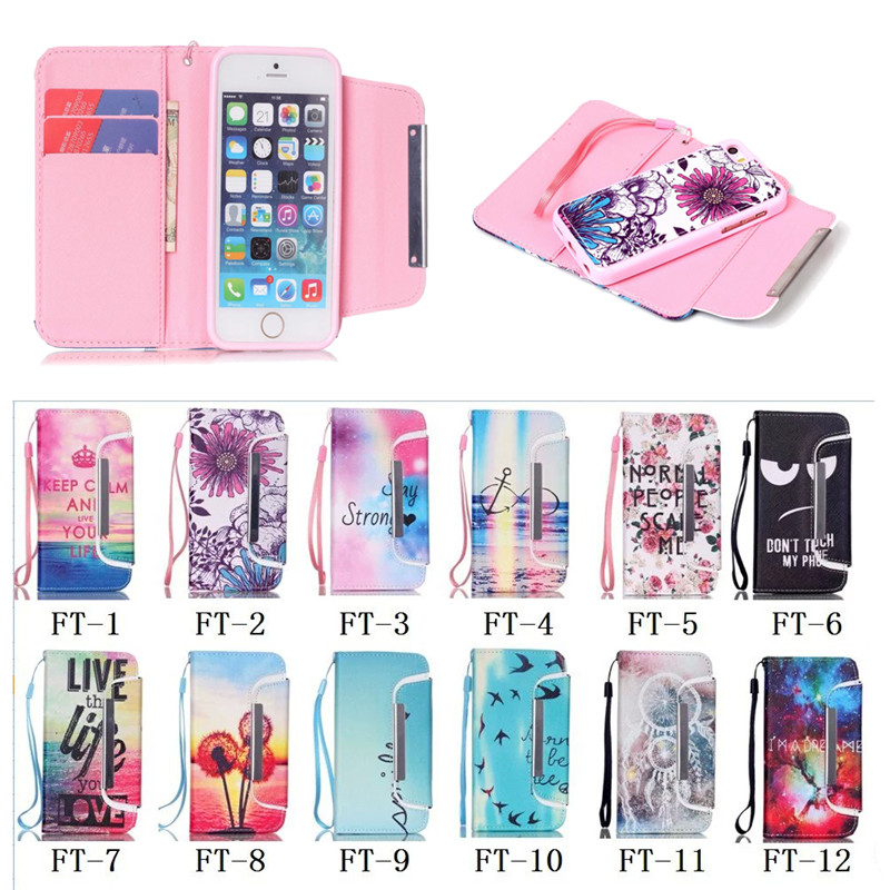 Detachable Leather Hybrid Case for iphone 5C, flip wallet case for apple iphone 5C, 2015 new design