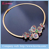 Dubai gold plated jewelry making necklaces colorful crystal flower necklace collar bulk sales in china