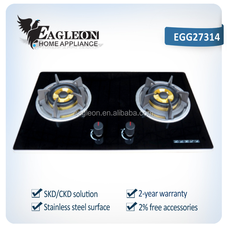 EGG27314 73cm Vietnam temper glass built-in 2 burner gas stove/ gas cooker/ gas hobs, double brass burners, copper gas pipe