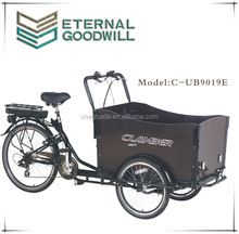 Electric three wheels 200-250w 6speeds 36V 9Ah family cargo tricycle bike/cargobike/bakfiets UB9019E