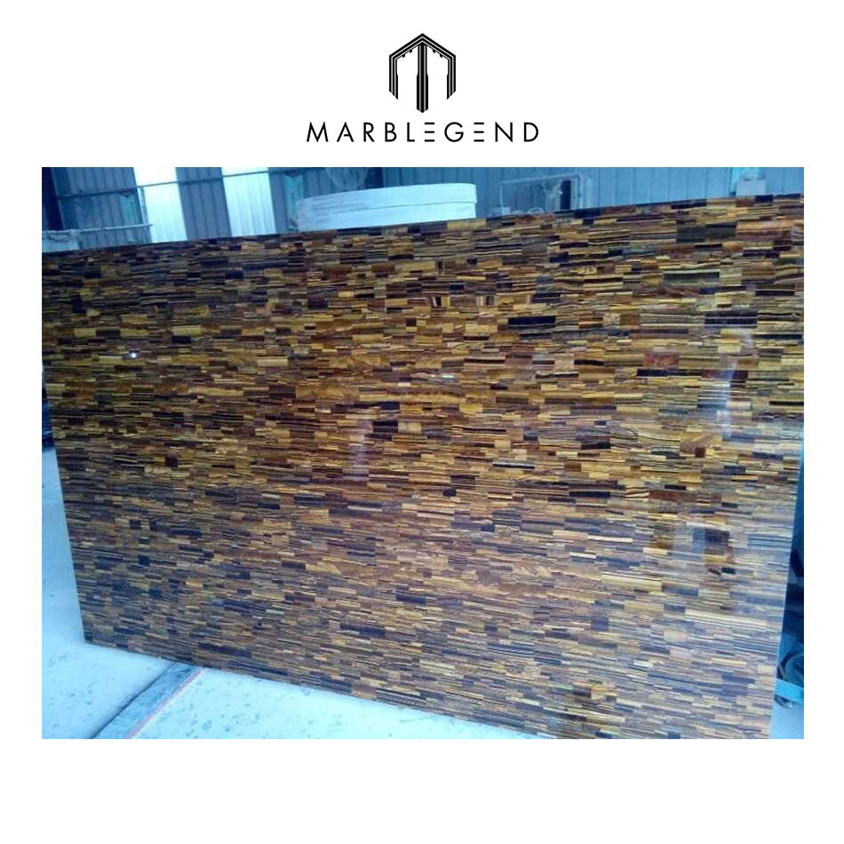 Factory price tiger eye semi precious stone for countertop and wall