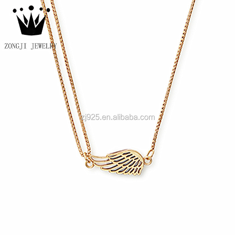 925 Sterling Silver Dubai Gold Jewelry Wing Design Necklace