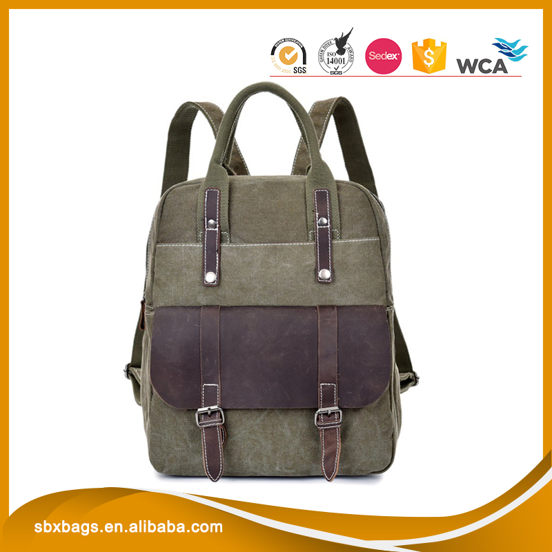 Canvas Genuine Leather Travel School Bags 15.6-inch Laptop Handbag Backpack Rucksack Daypack