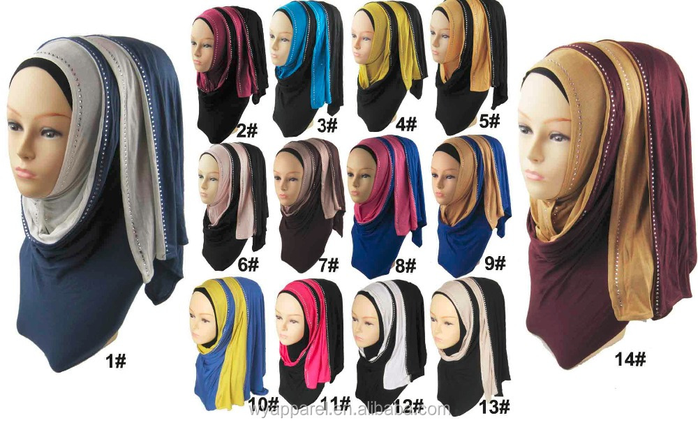 In Stock ready to ship long size collection style cotton <strong>scarf</strong> two tones jersey hijab with rhinestones