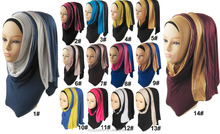 In Stock ready to ship long size collection style cotton scarf two tones jersey hijab with rhinestones