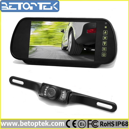 Visual Driving Assisstant 7 Inch Monitor Bluetooth Rearview Mirror with Reverse Camera