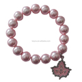 Big Pink Pearl Elastic Organization Bracelet With Pink IVY Leaf