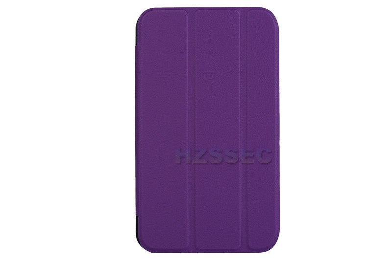 Purple triple folding PU leather cover stand tablet case for Hp Stream 7