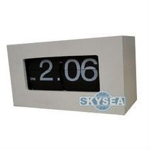 Wood Flip Retro Clock white color