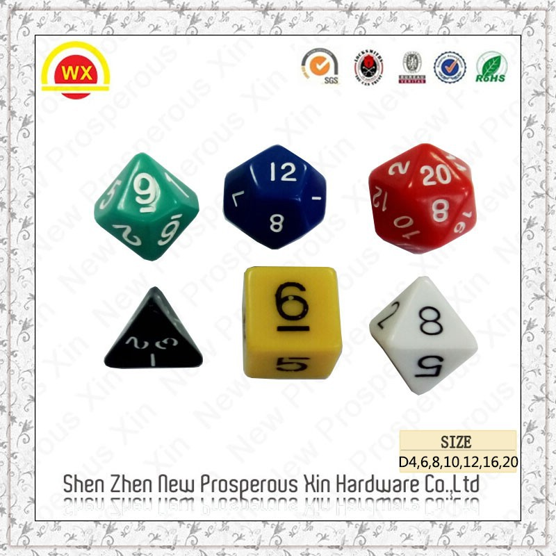 Game arcylic plastic colored polyhedral engraved decoration rpg dice