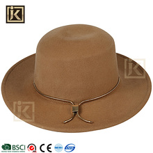 JAKIJAYI 2017 fashion adult age group round top brim 100% wool custom ribbon ladies fedora felt hats