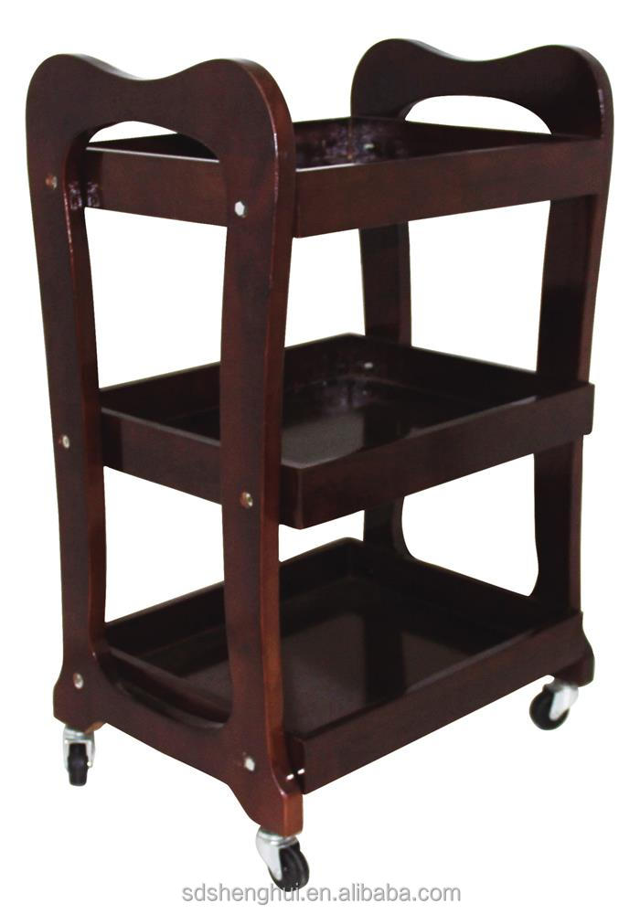Factory outlet wooden barber shop trolley beauty shop trolley