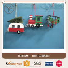 High Quality Christmas Tree Ornament Metal Camping Car Train and Glider